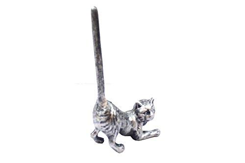 Rustic Silver Cast Iron Cat Paper Towel Holder 10' - Metal Art Decor - Cat Deco