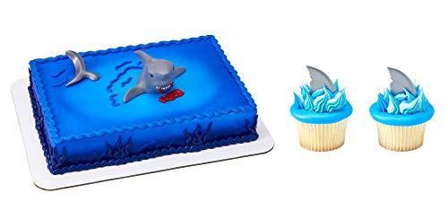 Shark Cake Topper & 12 Shark Fin Cupcake Picks