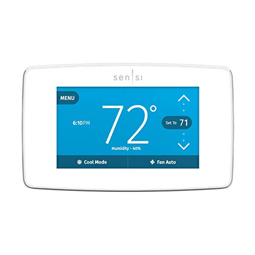 Emerson Sensi Touch Wi-Fi Smart Thermostat with Touchscreen Color Display, Compatible with Alexa, Energy Star Certified, C-wire Required, ST75W (Renewed)