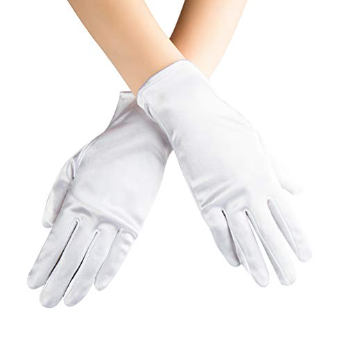 Xuhan Short Banquet Opera Satin Gloves for Women Wrist Length (White)
