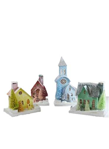 Cody Foster Spectrum Paper Village House Set of 4 in Pink Green Blue Yellow