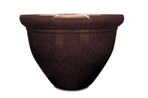 Listo Pizzazz Resin Pottery Planter with Speckle, 9-Inch, Chocolate