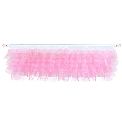Fulu Bro Pink Valance Girl Tulle Tutu Window Curtains Bedroom Valance for Girl Baby Nursery Room Window Decorations 52' × 16'