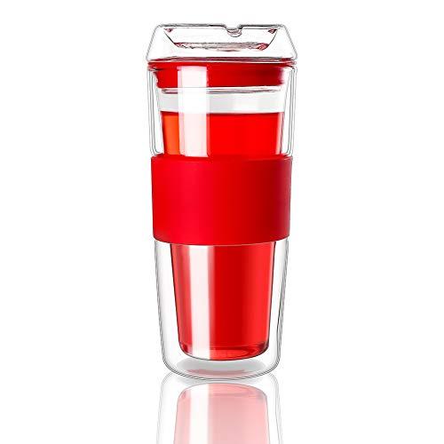 Cicike 2020 Premium Double Walled Glass Coffee Mug, Borosilicate Glass Tumbler with Silicone Sleeve, Glass Mug for Hot Beverages, Hand Blown Glass Travel Mug (Red)