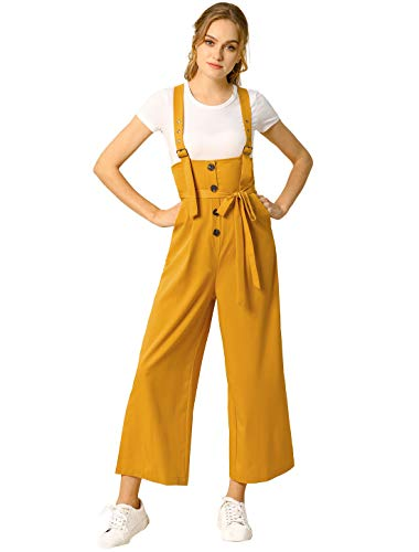 Allegra K Women's High Waist Wide Leg Belted Jumpsuit Button Long Overalls L Yellow