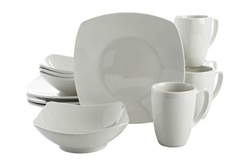 Gibson Zen Buffet Square Dinnerware Set, Service for 4 (12pcs), White