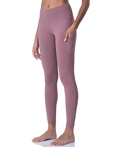 POSHDIVAH Ultra Soft Yoga Pants for Women High Waited Tummy Control Workout Leggings with Pockets Dusty Pink XS