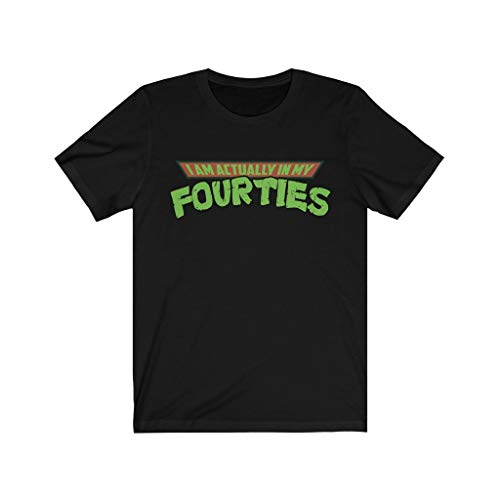 I'm Actually in My Fourties Shirt - Funny TMNT Parody Fathers Day Premium Tee T-Shirt Black