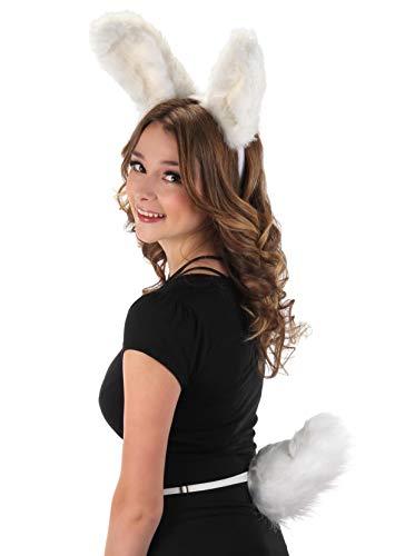 Bendable Bunny Ears Plush Adjustable Headband and Plush Bunny Tail Adjustable Elastic Waistband Costume Accessory Kit White