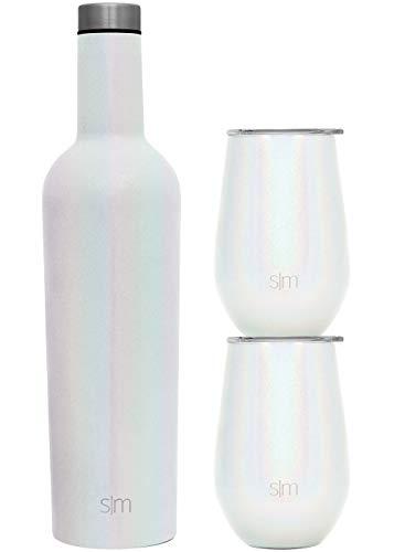 Simple Modern Spirit Wine Bundle - 2 12oz Wine Tumbler Glasses with Lids & 1 Wine Bottle - Vacuum Insulated 18/8 Stainless Steel Shimmer: Selenite