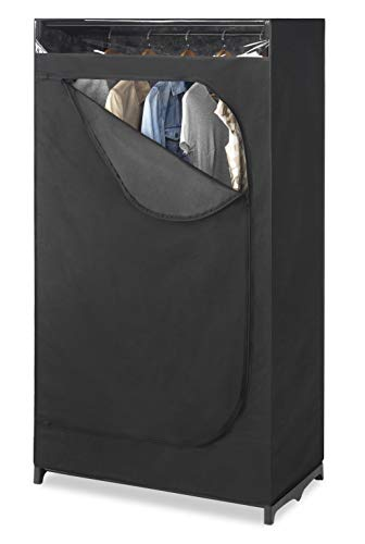 """Whitmor Portable Wardrobe Clothes Closet Storage Organizer with Hanging Rack - Black Color - No-tool Assembly - See Through Window - Washable Fabric Cover - Extra Strong & Durable - 19.75 x 36 x 64"""""""