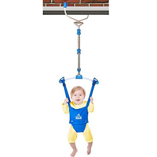 OUTING MAN Door Jumper Swing Bumper Jumper Exerciser Set with Door Clamp Adjustable Strap for Toddler Infant 6-24 Months (Blue)