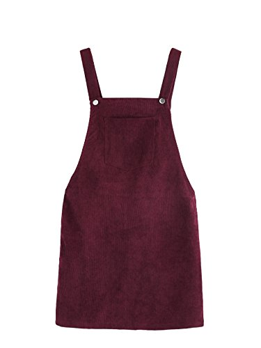 Romwe Women's Straps A-line Corduroy Pinafore Bib Pocket Overall Dress Burgundy S