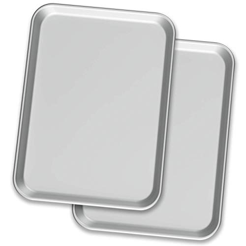 "Baking Sheet Pans – Two Aluminium Cookie Sheet Pan (13"" x 18"") - for Commercial or Home Use. Half Size Baking Pan Set w/ Cookie Sheets, charolas para hornear."