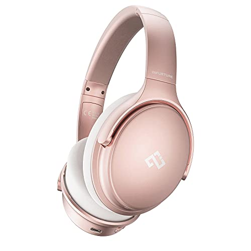 Infurture Pink Active Noise Cancelling Headphones Bluetooth Headphones with Mic Deep Bass Wireless Over Ear Headset,Memory-Protein Earmuffs,Quick Charge 40H Playtime for TV, Travel, Work, Online Class