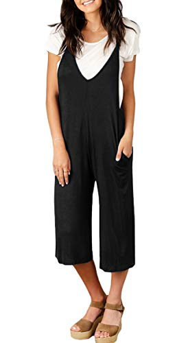Spadehill Women Pocket Strap Jumpsuits Casual Overalls Sleeveless Loose Wide Leg Long Pants Rompers Black L