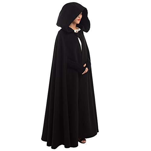 GRACEART Women's Hoodie Woolen Cape Cloak Long Black