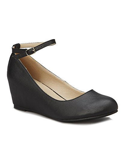 Chase & Chole Bobby-1 Women's Closed Toe Low Wedge Ballet Flat Mary Jane Ankle Strap, Black, 9 B (M) US