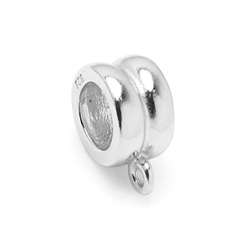 Bright 925 Sterling Silver Cord Ring Pendant Connector for European Charm Bracelets