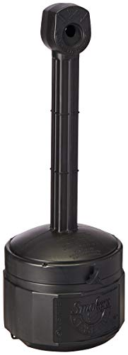 Justrite 26806D Polyethylene Personal Smokers Cease Fire Cigarette Butt Receptacle, 1 Gallon Capacity, 11' OD x 30' Height, Deco Black