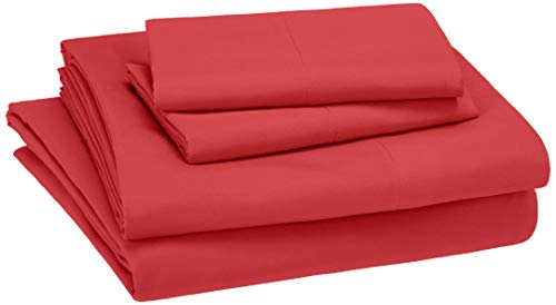 AmazonBasics Kid's Sheet Set - Soft, Easy-Wash Lightweight Microfiber - Queen, Red