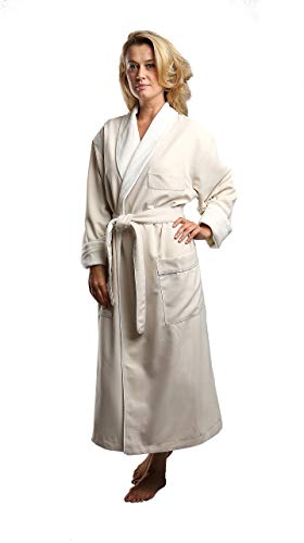 Terry Lined Microfiber Hotel Robe - Luxury Spa Bathrobe in Natural/2X by Monarch/Cypress