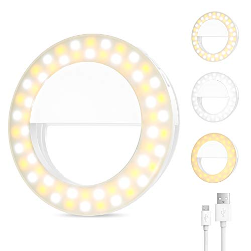 (Upgraded) Selfie Ring Light Phone Clip On,600mAh Rechargeable Circle Light Double Row 60 LED Light Photography Video Light,3 Lighting Modes Mini Small Circle Light for iPhone and Laptop(1m USB Cable)