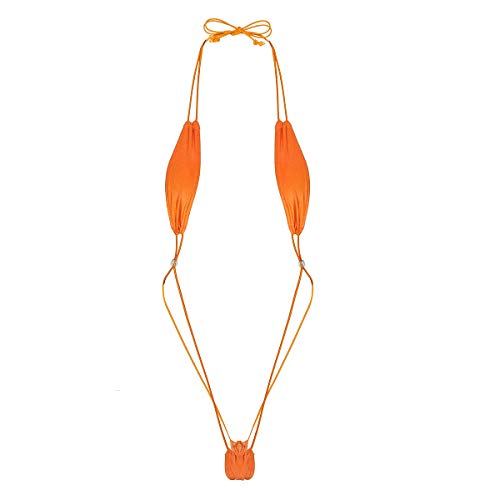 ACSUSS Women Lingerie Slingshot Thong Teardrop Bikini G String Bodysuit Underwear Orange One Size