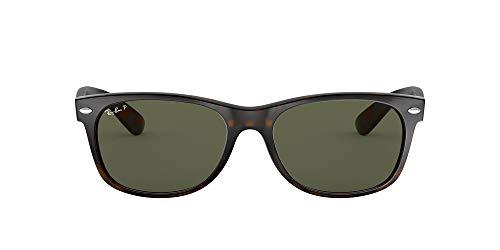 Ray-Ban RB2132 New Wayfarer Sunglasses, Tortoise/Polarized Green, 58 mm