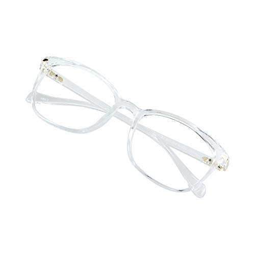 Blue Light Blocking Glasses for Women, Anti Eyestrain, Computer Reading, TV Glasses, Stylish Square Frame, Anti Glare(Clear,+1.25 Magnification)