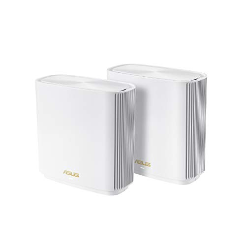 ASUS ZenWiFi AX6600 Tri-Band Mesh WiFi 6 System (XT8 2PK) - Whole Home Coverage up to 5500 sq.ft & 6+ rooms, AiMesh, Included Lifetime Internet Security, Easy Setup, 3 SSID, Parental Control, White