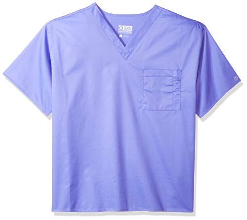 WonderWink Adult's Plus Size Unisex V-Neck Top, ceil Blue, 3X-Large