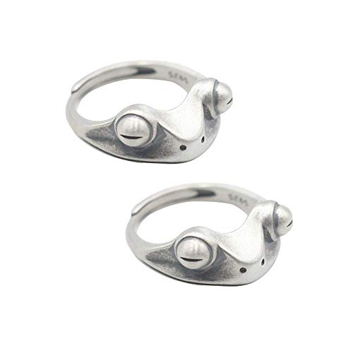 Hsarsup Adjustable Frog Rings Open Rings for Women Vintage Cute Animal Engagement Ring Finger Ring Stainless Silver Party Fashion Jewelry Gift for Couple Best Friends (Frog A 2pcs)