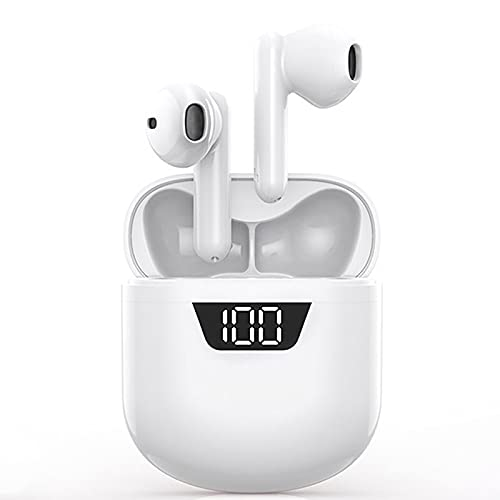 IDAKODU Wireless Earbuds, Bluetooth 5.0 Sports Headphones with Charging Case & Power Display, 3D Stereo Noise Cancelling Earphones Built-in Microphone Ear Buds for iPhone/Android/Samsung - White