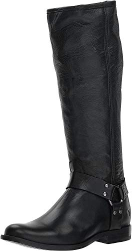 Frye Women's Phillip Harness Tall Knee High Boot, Black Soft Vintage Leather, 9.5 M US
