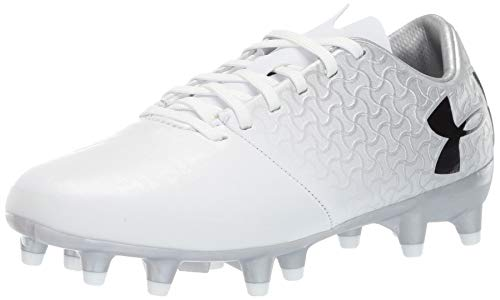 Under Armour Kids' Magnetico Select JR Firm Ground Soccer Shoe, White (100)/Metallic Silver, 5 M US Big Kid