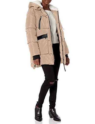 Steve Madden Women's Puffer Parka Jacket, Classic Sand, L