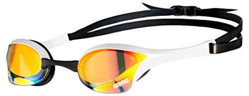 arena Cobra Ultra Racing Swim Goggles for Men and Women, Yellow Copper / White, Swipe Anti-Fog Mirror