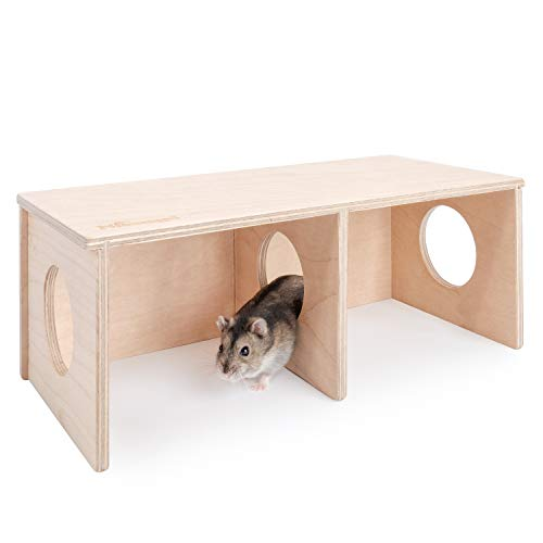 Niteangel Hamster Secret Peep Shed 2-Chamber Hideout & Tunnel Exploring Toys (Small - for Dwarf Hamster)