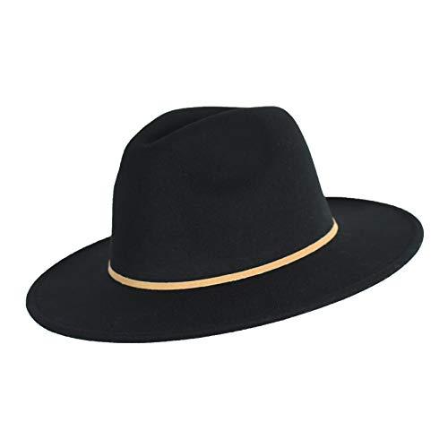 Winter Bohemian Vegan Wool Floppy Wide Brim Felt Panama Cap with Suede Belt Adjustable Trilby Fedora Hat (Black Hat with Tan Skinny Band)
