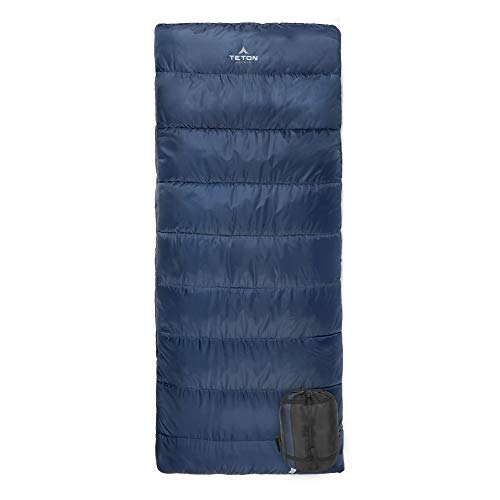 TETON Sports Polara 3-in-1 Sleeping Bag; Great for All Season Camping, Fishing, and Hunting; Versatile Outdoor Sleeping Bag; Lightweight, Washable Inner Fleece Lining; Compression Sack Included , Blue, 82' x 36'