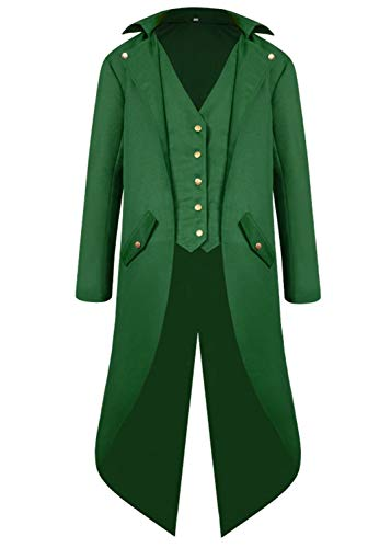 Renaissance Steampunk Tailcoat Halloween Costumes for Boys, Medieval Pirate Vampire Victorian Jacket Vintage Frock Coat Children Kids (Green, M (US: 8-10))