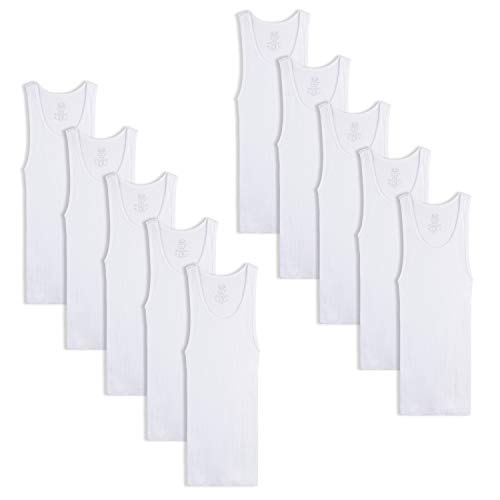 Fruit of the Loom Boys' Cotton Tank Top Undershirt (Multipack), Boys - 10 Pack - White, Large