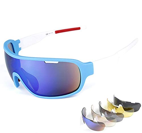 Baselay Polarized Sports Sunglasses with 5 Interchangeable Lenses UV400 Protection Cycling Sun Glasses for Men Women MTB Outdoor Running Driving Fishing Golfing (Blue/White)