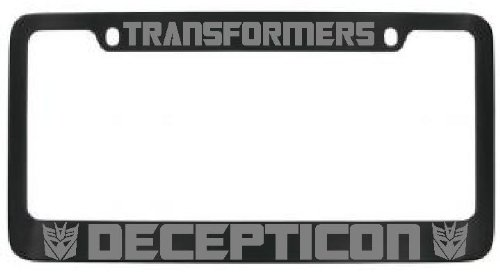 Decepticon Transformers License Plate Frame Black with Silver Lettering - 2 Free Caps