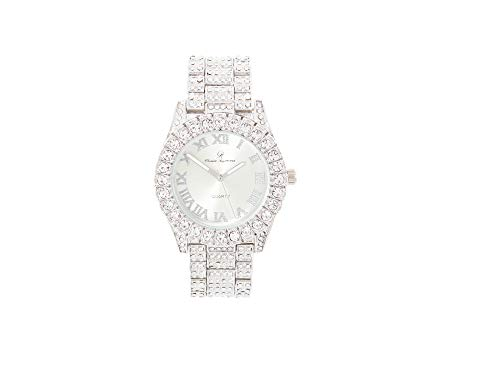 Women's Big Rocks Bezel Colored Dial with Roman Numerals Fully Iced Out Watch - ST10327LA (PNP-PNP)