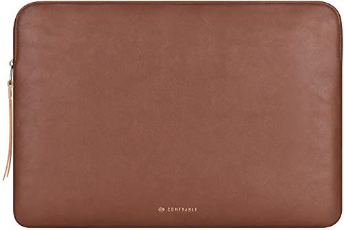 Comfyable Slim Protective Laptop Sleeve 13-13.3 Inch Compatible with 13 Inch MacBook Pro & MacBook Air, PU Leather Bag Waterproof Cover Notebook Computer Case for Mac, Brown