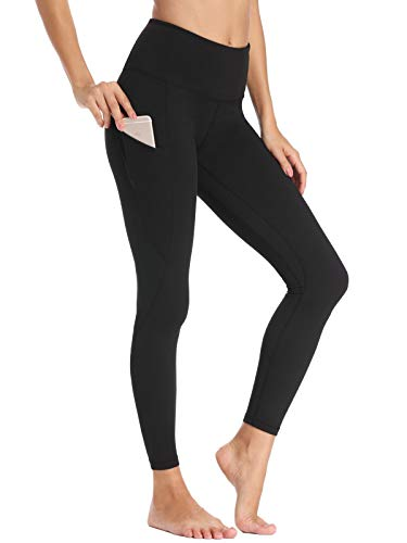 Willit Women's Fleece Lined Leggings Winter Yoga Running Leggings with Pockets High Waisted Pants Workout Thermal Tights Black XS