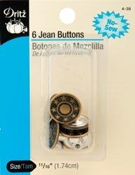 Dritz No Sew Jean Buttons 5/8 inch 6/Pkg Antique Brass 4 38 (3 Pack)