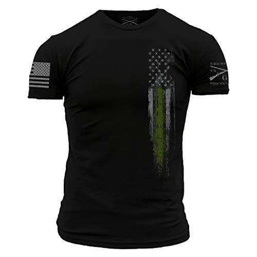 Grunt Style Support First Responders Line Flag Men's T-Shirt (Black - Federal Law Enforcement, Large)